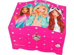 Šperkovnice Top Model Fergie, Nadja a Lexy, se světly a zrcátkem, růžová