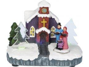 Dekorační kostel Idena vánoční, rozměr 11 x 10 x 6 cm, kostel