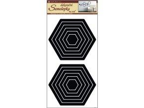 Samolepky na zeď šestiúhelník černý 2 sady 69x32cm
