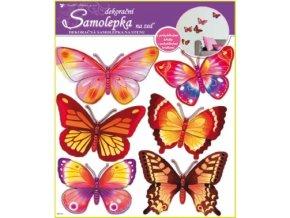 Samolepky na zeď žlutí a růžoví motýlci hologram 39x30cm