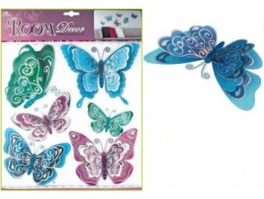 Samolepky na zeď modrofialoví motýli s hologramem 39x30cm