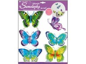 Samolepky na zeď modrozelení motýli s pohyblivými křídly 30x30cm