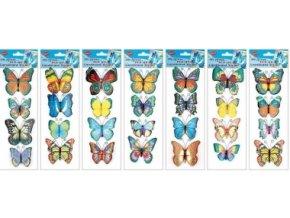 Samolepky na zeď motýli s křídly a glitry 34x12cm