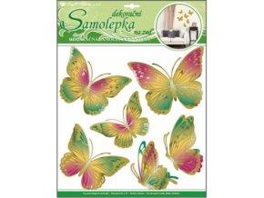 Samolepky na zeď zeleno oranžový motýli s pohyblivými zlatými křídly 39x30cm