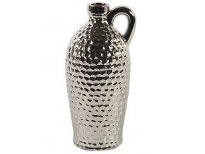 Váza | keramická | s uchem | stříbrná