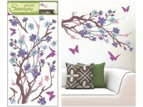Samolepky na zeď purpurovo-fialová větvička 69x32cm