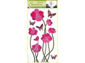 Samolepky na zeď růžové vlčí máky s motýly 69x30cm