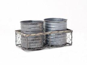 Košíček hranatý s kalíšky 2ks 19x6x10,5cm