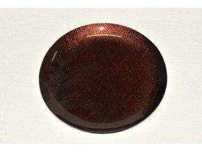 skleneny tac 25 cm hnedy s perleti