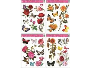 Okenní fólie květiny s motýly 42x30cm set 4 ks