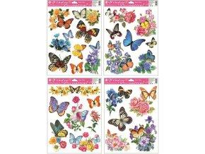 Okenní fólie motýli s květy 42x30cm set 4ks