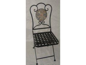Židle kovová s mozajkou | 35x35x91cm