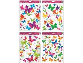 Okenní fólie rohová barevní motýlci 42x30cm I