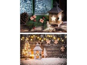 Taška dárková papírová  XLL ležatá, vánoční motivy, mix dvou dekorů