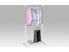 Stojan na šaty | bílý plast/chrom | 80x43x94-170cm