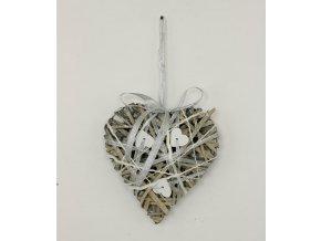 Srdce | šedé | proutí a dřevo | 15x15cm