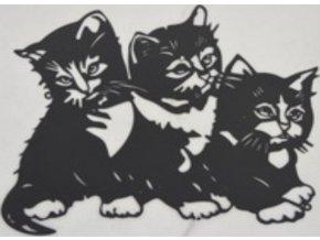 Nástěnný kovový obraz | koťátka | barva černá matná | 50x37cm