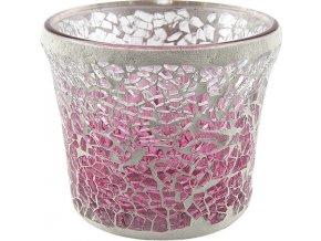Svícen skleněný Yankee Candle Růžová mozaika, průměr 7 cm
