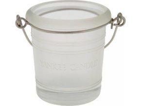 Svícen skleněný Yankee Candle Glass Bucket, výška 6.5 cm, matný