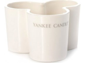 Svícen skleněný Yankee Candle Trojlístek, na 3 svíčky, mléčné sklo