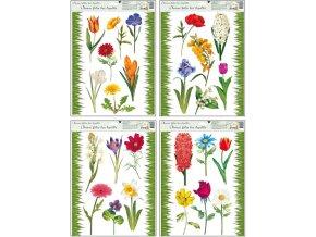 Okenní fólie travička a květinky 42x30cm II