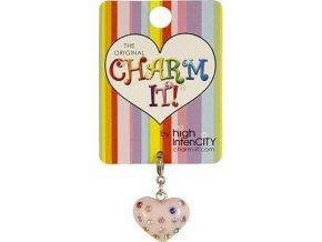 Přívěšek | Charm it | Srdce růžové