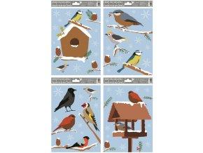 Okenní fólie zimní ptáčci 30x20cm Set 4ks