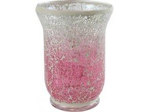 Svícen Yankee Candle Skleněný, růžovo-bílá mozaika, tvar vázy