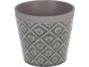 Keramický květináč zelený 14x12,5 cm