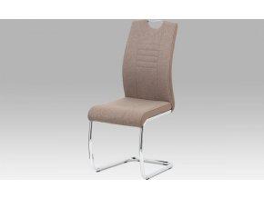 Jídelní židle, cappuccino látka/ekokůže/chrom