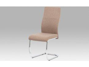 Jídelní židle, cappuccino látka/kov chrom