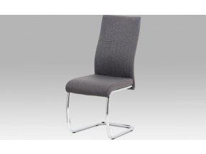 Jídelní židle, šedá látka/kov chrom