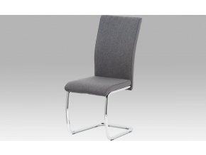 Jídelní židle, šedá látka/šedá ekokůže/chrom