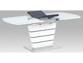 Jídelní stůl 140+40x80, bílá MDF/broušený nerez
