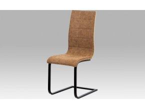 """Jídelní židle, látka """"COWBOY"""" hnědá/MDF San Remo/kov matná černá"""