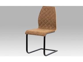 """Jídelní židle, látka """"COWBOY"""" hnědá/MDF dub/kov matná černá"""