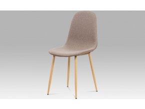 Jídelní židle, cappuccino látka-ekokůže, kov buk