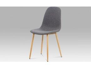 Jídelní židle, šedá látka-ekokůže, kov buk