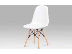 Jídelní židle, bílá ekokůže, masiv buk, kov černý