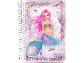 Zápisník Fantasy Model ASST Mořská panna, růžové glitry