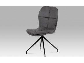 """Jídelní židle, šedá látka """"COWBOY"""", kov černá"""