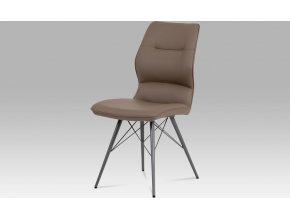 Jídelní židle, cappuccino ekokůže, kov matná šedá