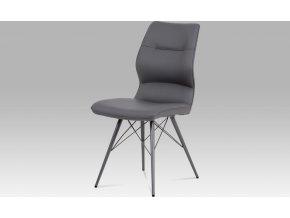 Jídelní židle, šedá ekokůže, kov matná šedá