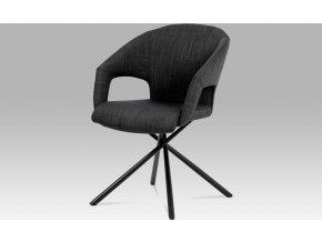 Jídelní židle, černá látka, kov matná černá