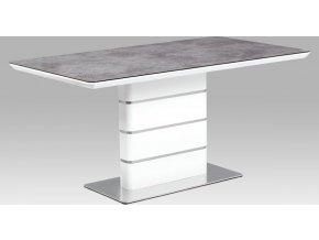 Jídelní stůl 160x90, šedé sklo, bílý vysoký lesk MDF, broušený nerez