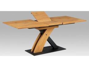 Jídelní stůl 160+40x90, divoký dub MDF, kov matná černá