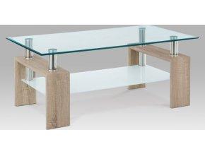Konferenční stolek 110x60x45 cm, dub SONOMA / čiré sklo 8 mm