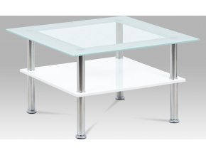 Konferenční stolek 70x70x42 cm, sklo bílé / MDF bílá