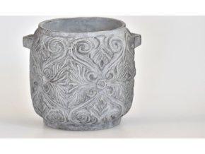 Květináč šedý ornament 10,5 cm