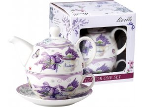 Konvička s podšálkem TEA FOR ONE Nature Lavender